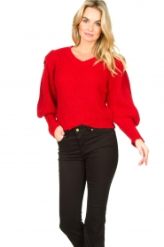 Aaiko |  Knitted sweater with puff sleeves Mascha | red  | Picture 2