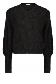 Aaiko |  Knitted sweater with puff sleeves Mascha | black  | Picture 1
