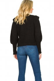 Aaiko |  Knitted sweater with puff sleeves Mascha | black  | Picture 6