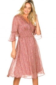 Lolly's Laundry |  Midi dress with ruffles Patricia | pink  | Picture 2
