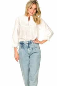 Lolly's Laundry |  Blouse with ruffles Huxi | white  | Picture 2