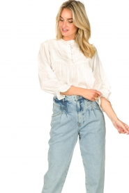 Lolly's Laundry |  Blouse with ruffles Huxi | white  | Picture 4