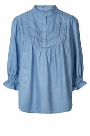 Lolly's Laundry |  Blouse with ruffles Huxi | blue  | Picture 1