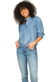Lolly's Laundry |  Blouse with ruffles Huxi | blue  | Picture 4