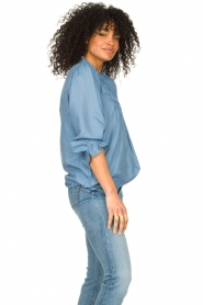 Lolly's Laundry |  Blouse with ruffles Huxi | blue  | Picture 5
