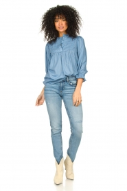 Lolly's Laundry |  Blouse with ruffles Huxi | blue  | Picture 3