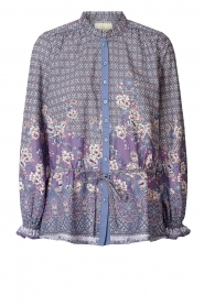 Lolly's Laundry |  Cotton blouse with drawstring Sophie | purple  | Picture 1