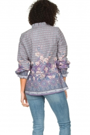 Lolly's Laundry |  Cotton blouse with drawstring Sophie | purple  | Picture 6