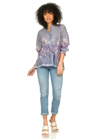 Lolly's Laundry |  Cotton blouse with drawstring Sophie | purple  | Picture 3