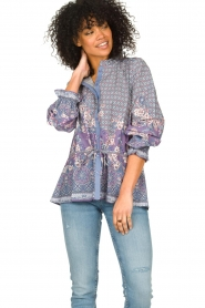 Lolly's Laundry |  Cotton blouse with drawstring Sophie | purple  | Picture 4