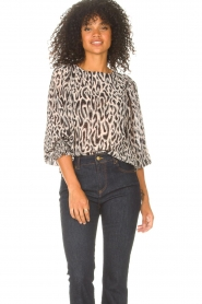 Freebird |  Top with leopard print Tisha | nude  | Picture 2