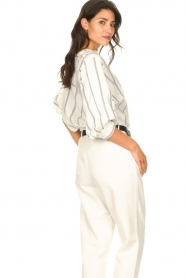 Lolly's Laundry |  Cotton blouse with lurex Ralf | natural  | Picture 7