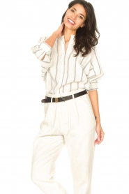 Lolly's Laundry |  Cotton blouse with lurex Ralf | natural  | Picture 5
