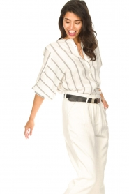 Lolly's Laundry |  Cotton blouse with lurex Ralf | natural  | Picture 4