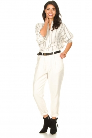 Lolly's Laundry |  Cotton blouse with lurex Ralf | natural  | Picture 3