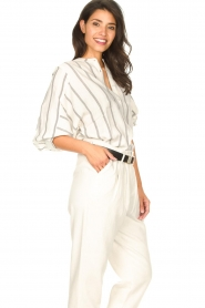 Lolly's Laundry |  Cotton blouse with lurex Ralf | natural  | Picture 6