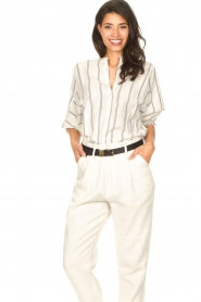 Lolly's Laundry |  Cotton blouse with lurex Ralf | natural  | Picture 2