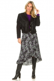 Freebird | Maxi rok met bloemenprint Alina | zwart  | Afbeelding 3