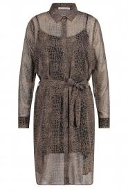 Freebird |  Midi dress with croc print Amina | black  | Picture 1