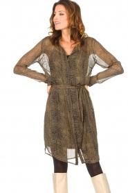 Freebird |  Transparent dress with croc print Amina | black  | Picture 5