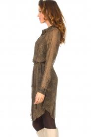 Freebird |  Transparent dress with croc print Amina | black  | Picture 6