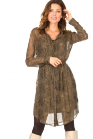 Freebird |  Transparent dress with croc print Amina | black  | Picture 4