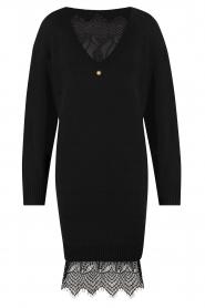 Freebird | Sweater jurk met kant Ilsa | zwart  | Afbeelding 1