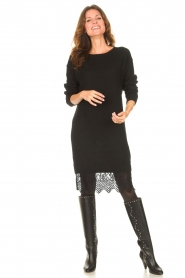 Freebird | Sweater jurk met kant Ilsa | zwart  | Afbeelding 3