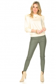 Knit-ted |  Faux leather legging Amber | green  | Picture 3