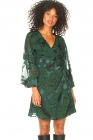 Freebird |  Wrapped dress with print Odiela | green  | Picture 4