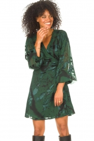 Freebird |  Wrapped dress with print Odiela | green  | Picture 2
