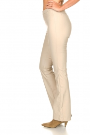 Knit-ted :  Faux leather flared legging Afke | beige - img5