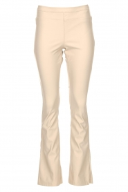 Knit-ted |  Faux leather flared legging Afke | beige  | Picture 1