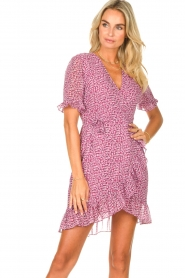 Freebird |  Wrapped dress with print Rosy | pink  | Picture 2