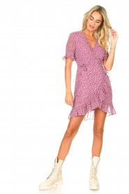 Freebird |  Wrapped dress with print Rosy | pink  | Picture 3