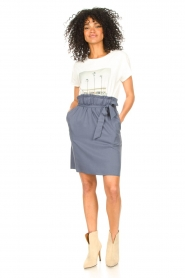 Knit-ted |  Skirt with matching tie belt | blue  | Picture 3