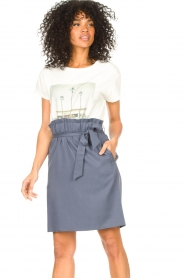 Knit-ted |  Skirt with matching tie belt | blue  | Picture 5