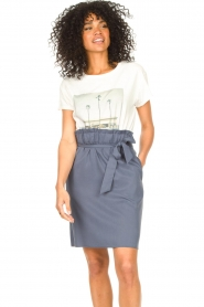 Knit-ted |  Skirt with matching tie belt | blue  | Picture 2
