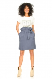 Knit-ted |  Skirt with matching tie belt | blue  | Picture 4