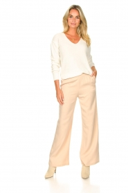 Knit-ted |  Flared pants Marloes | beige  | Picture 2