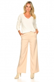 Knit-ted |  Flared pants Marloes | beige  | Picture 3