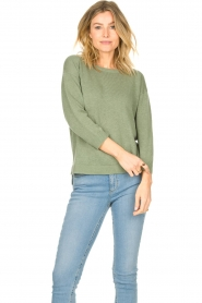 Knit-ted |  Basic sweater Annemone | green  | Picture 3