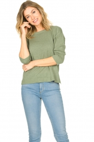Knit-ted |  Basic sweater Annemone | green  | Picture 4