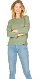 Knit-ted |  Basic sweater Annemone | green  | Picture 2