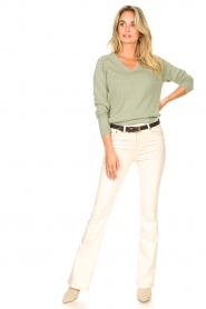 Knit-ted |  Basic sweater with lurex Dahlia | green  | Picture 4