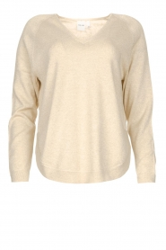Knit-ted |  Basic sweater with lurex Dahlia | natural