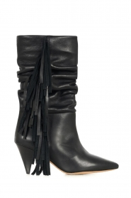 IRO |  Leather boots with fringes Cranko | black  | Picture 1
