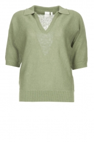 Knit-ted |  Sweater with v-neck Buttercup | green  | Picture 1