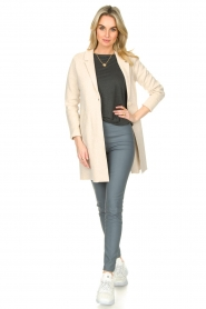 Knit-ted |  Long cotton cardigan Sammy | beige  | Picture 3
