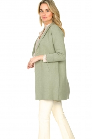 Knit-ted |  Long cotton cardigan Sammy | green  | Picture 6